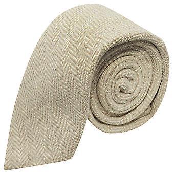 Gold & Cream Herringbone Tie