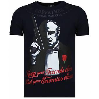 Gudfar-rhinestone T-shirt-Marinblå