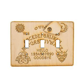 Ouija triple switch plate - raw wood - 7.5x5.5