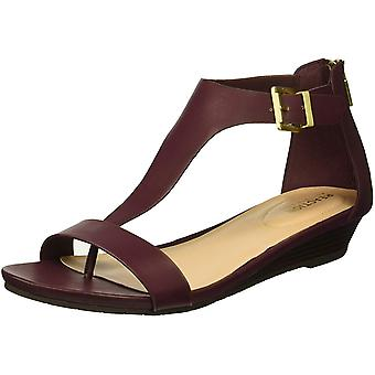 Kenneth Cole REACTION Women's Gal T-Strap Low Wedge Sandal, Burgundy, 9 M US