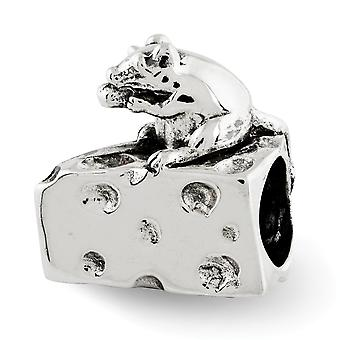 925 Sterling Argent Poli Antique finition Reflections Mouse Cheese Bead Charm