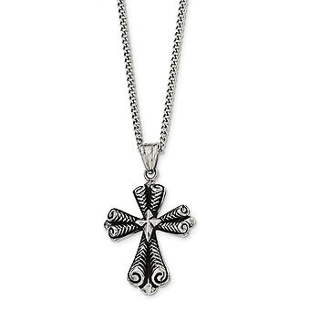 Stainless Steel Antiqued Cross Necklace - 24 Inch