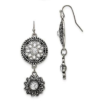 Silver-tone Shepherd hook Double Drop Floral With Clear Crystal Dangle Earrings