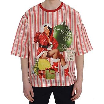 Red And White Striped DICEMBRE T-Shirt -- SIG2715973