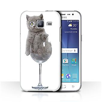 STUFF4 Case/Cover for Samsung Galaxy J2/J200/Wine Glass/Cute Kittens