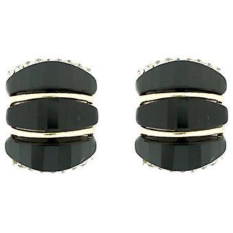 Clip en faceta Rectangular pendientes tienda Jet negro Clip de cristal en pendientes