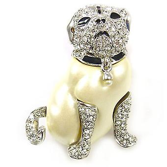 Kenneth Jay Lane Crystal and Pearl Pugsley Dog Brooch Pin