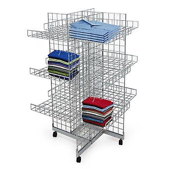 4 Sided Mobile Gridwall Display Unit with 12 Shelves