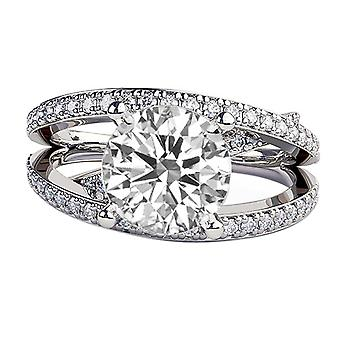 14K White Gold 1.50 CTW 6.50MM Moissanite Forever One Engagement Ring with Diamonds Multi Band