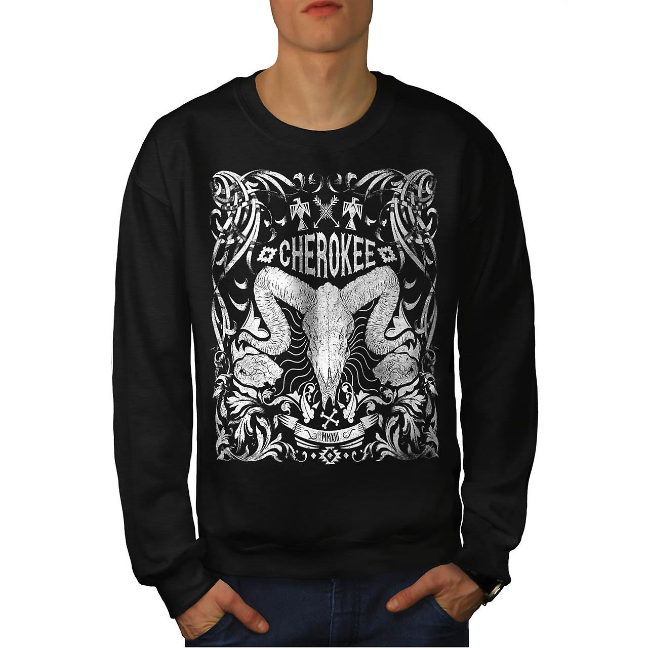 Native Culture Skull Animal Head Men Black Sweatshirt | Wellcoda