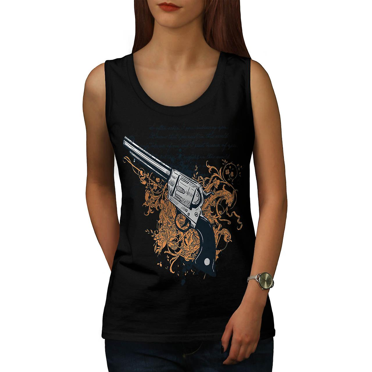 Deadly Weapon Pistol Gun Battle Women Black Tank Top | Wellcoda