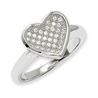 Sterling Silver and CZ Fancy Heart Ring - Ring Size: 6 to 8