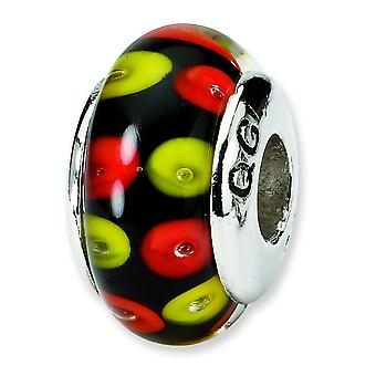 Sterling Silver Polished Antique finish Reflections Red Black Murano Glass Bead Charm