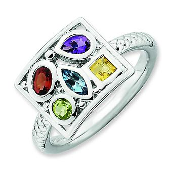 2.5mm Sterling Silver Stackable Expressions Gemstone Ring - Ring Size: 5 to 10