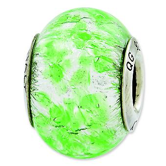 Sterling Silver Reflections Green White Italian Murano Glass Bead Charm