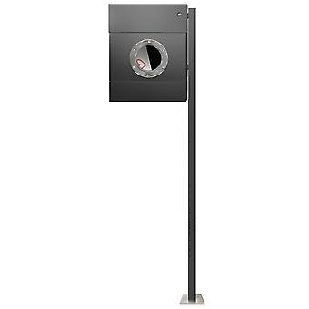 RADIUS stand letterbox Letterman 2 anthracite grey RAL 7016 newspaper role with LED ring with white post - 564 G KW