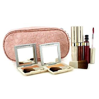 Kanebo Cheek & Lip Makeup Set With Pink Cosmetic Bag (2xCheek Color, 3xMode Gloss, 1xBrush, 1xCosmetic Bag) 6pcs+1bag