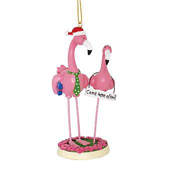 Boy Meets Girl Pink Flamingos Come Here Often Funny Christmas Holiday Ornament