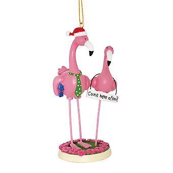 Boy opfylder pige Pink Flamingos kommer her ofte sjove Christmas Holiday Ornament