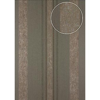 Stripes Atlas 24C-5059-4 non-woven wallpaper copper smooth with graphic patterns, and metallic accents Brown grey 7,035 m2