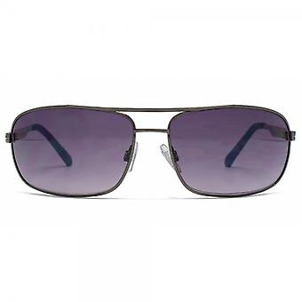 FCUK Square Wrap Pilot Sunglasses In Dark Gunmetal