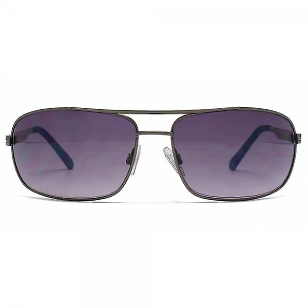 FCUK Square Wrap Aviator Sunglasses In Dark Gunmetal
