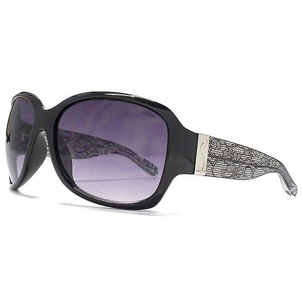 SUUNA Florence Glamourous Square Sunglasses In Black Lace Print Temple