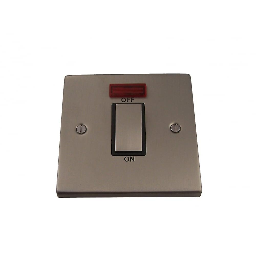 Causeway 1 Gang 45A DP Ingot Switch With Neon, Satin Chrome
