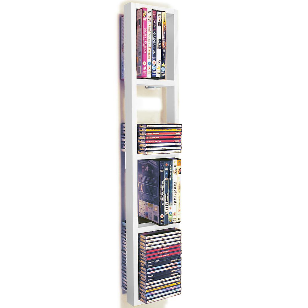 Iris - Wall Mounted 76 Cd / 32 Dvd / Blu Ray Storage Shelf - White