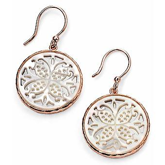 925 Silver Rose Gold Plated Motifs Mother Of Pearl Earring