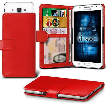ONX3 Samsung Galaxy On7 Leather Universal Spring Clamp Wallet Case With Card Slot Holder and Banknotes Pocket-Red