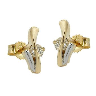Ohrringe bicolor 375 gold Ohrstecker gold Stecker, bicolor, Zirkonia, 9 Kt GOLD