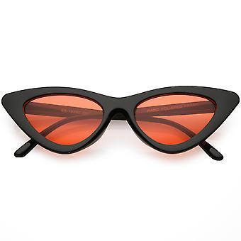 Womens übertrieben schlank schwarz Cat Sonnenbrille Farbe getönt Augenlinse 48mm