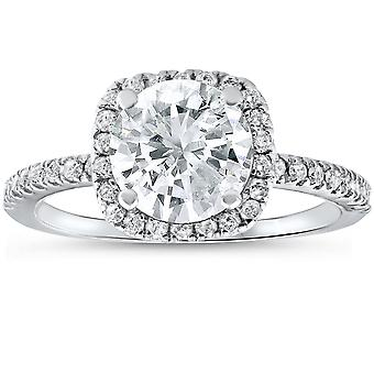 2 1/2 cttw Diamond Engagement Ring Cushion Halo Round Cut 14k White Gold
