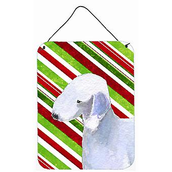 Bedlington Terrier Candy Cane Holiday Christmas Metal Wall Door Hanging Prints