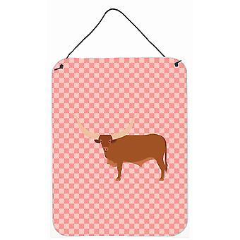 Ankole-Watusu Kuh rosa Check Wand oder Tür hängen Drucke