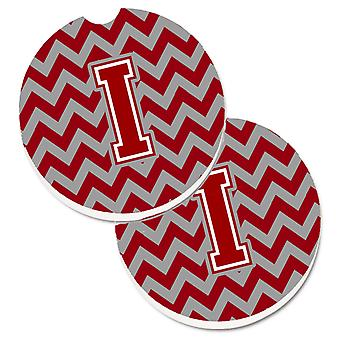 Letter I Chevron Maroon and White Set of 2 Cup Holder Car Coasters