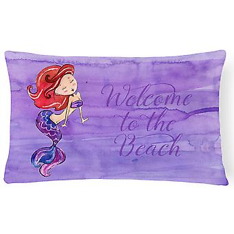 Mermaid Welcome Purple Canvas Fabric Decorative Pillow