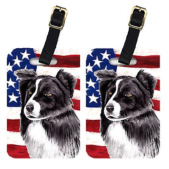 Pair of USA American Flag with Border Collie Luggage Tags