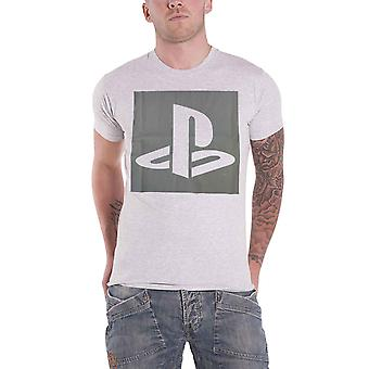 Playstation T Shirt Classic vintage Logo new Official Mens Grey