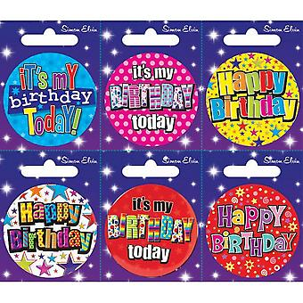 Simon Elvin Various Birthday Small Badges (Pack Of 6)