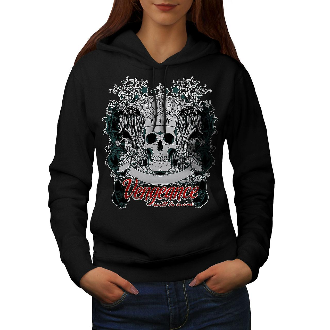Vengeance Be Mine Skull Women Black Hoodie | Wellcoda