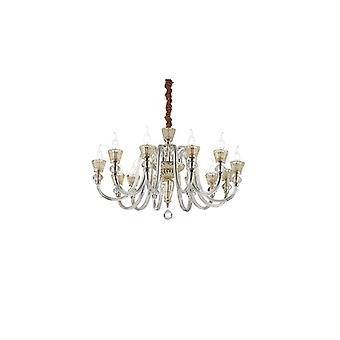 Strauss Rose Gold Finish And Glass Twelve Light Chandelier - Ideal Lux 140612