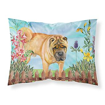 Carolines Treasures  CK1223PILLOWCASE Shar Pei Spring Fabric Standard Pillowcase