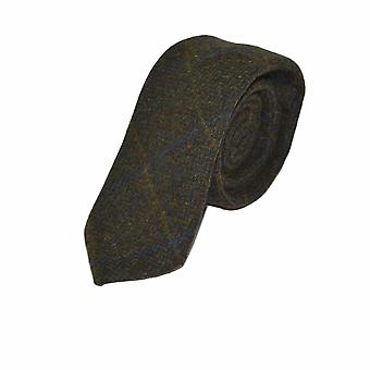 Luxury Juniper Green Herringbone Check Tie, Tweed