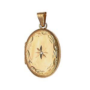 9ct Gold 27x20mm diamond set hand engraved edge oval Locket
