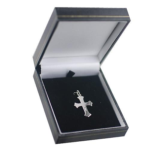 Silver 26x19mm plain Cross with embossed border