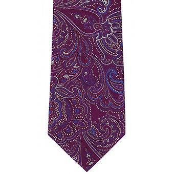 Michelsons of London Decorative Paisley Silk Tie - Magenta