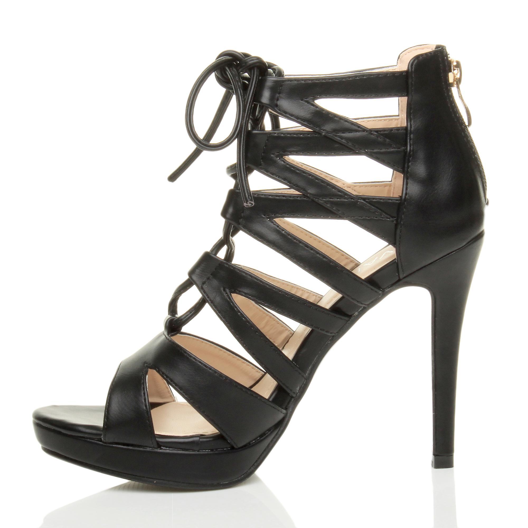 ghillie zip platform high shoes sandals lace caged womens heel Ajvani up fYx8qt