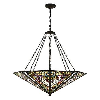 Interiors 1900 63901 Anderson 8 Light Tiffany Ceiling Pendant In A Dar